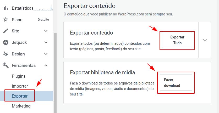 Backup conteúdo do WordPress