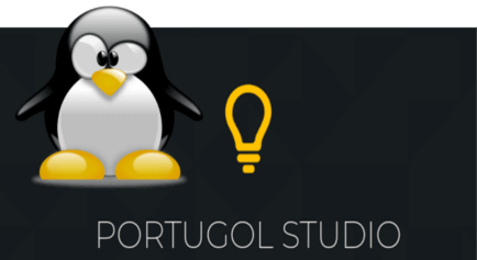 Pinguim mascote do Linux Tux e a logo do Portugol Studio